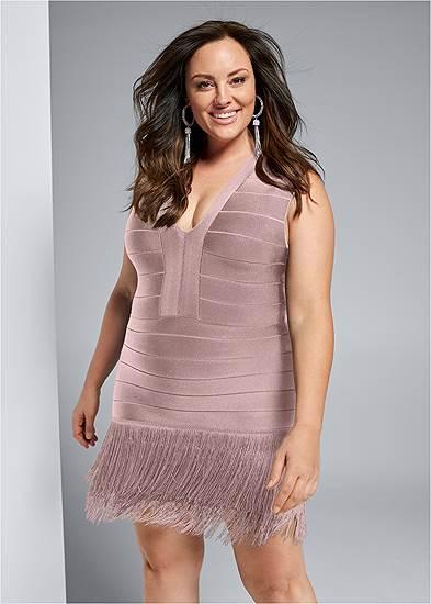Plus Size Bandage Fringe Dress