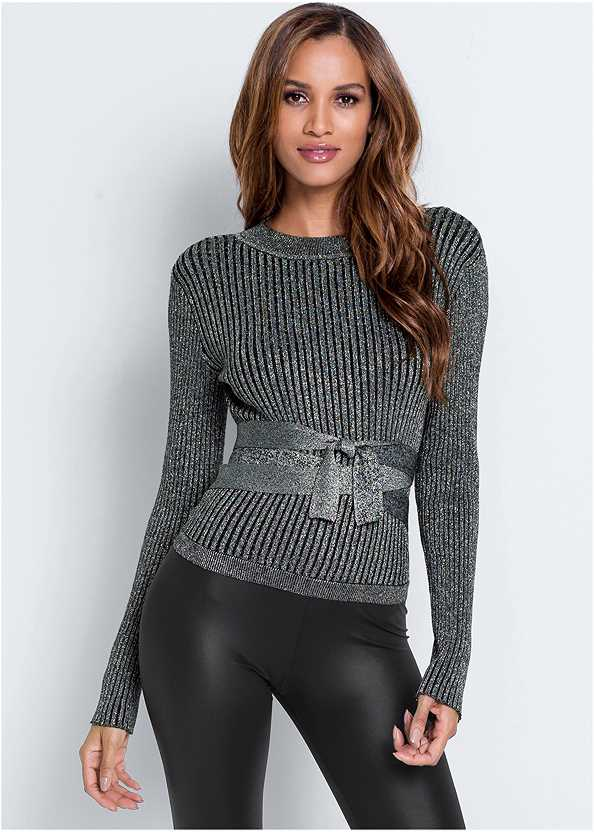 Ribbed Tie Front Sweater,Faux Leather Pants,Slouchy Layered Strap Boots