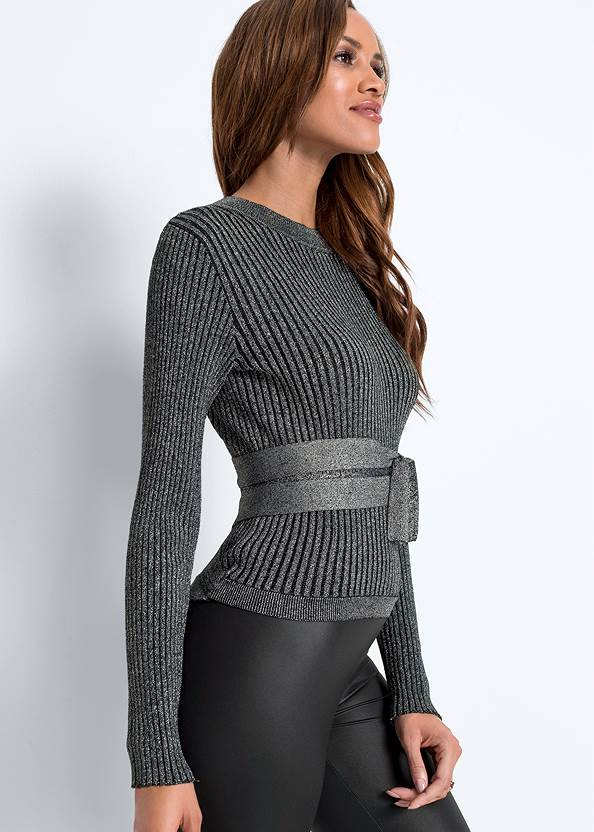 Detail  view Ribbed Tie Front Sweater