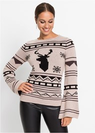 Front View Crew Neck Printed Sweater