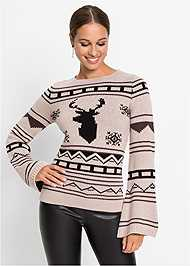 Alternate View Crew Neck Printed Sweater
