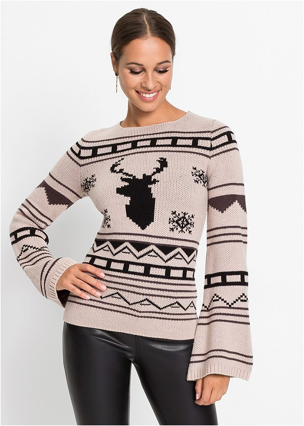Crew Neck Printed Sweater,Faux Leather Pants,Seamless Unlined Bra,Slouchy Layered Strap Boots
