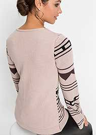 Cropped Back View Crew Neck Printed Sweater