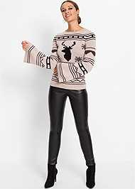 Full Front View Crew Neck Printed Sweater