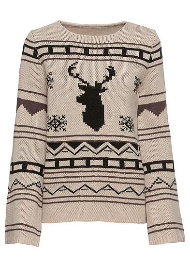Plus Size Crew Neck Printed Sweater