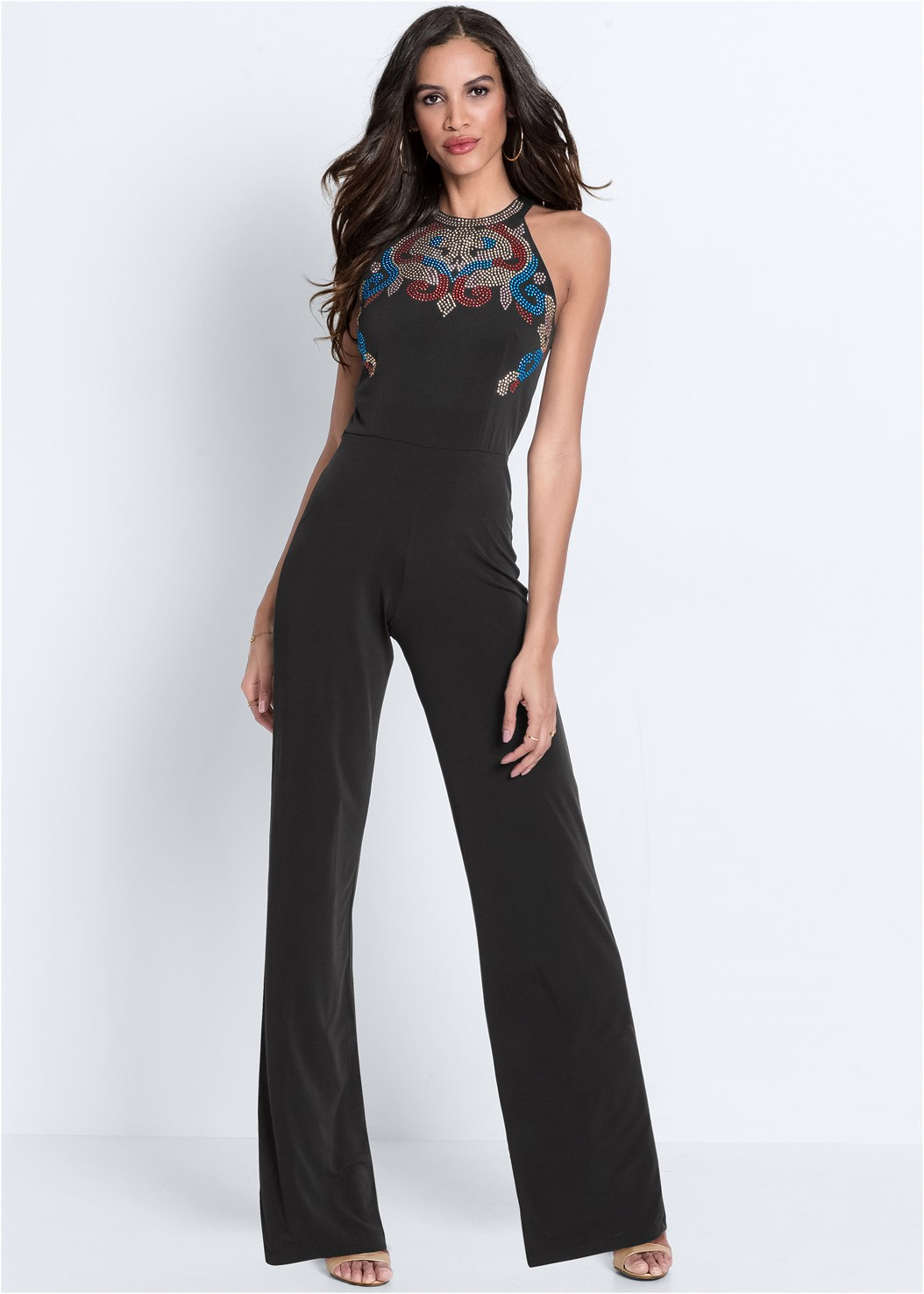 Embellished Jumpsuit,Smooth Longline Push Up Bra,High Heel Strappy Sandals,Ring Detail Oversized Bag