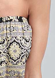 Detail front view Strapless Printed Romper