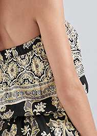 Detail back view Strapless Printed Romper