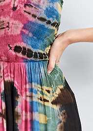 Detail front view Tie Dye Smocked Jumpsuit