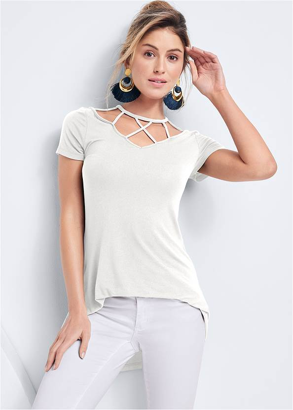 Strappy Detail Top,Mid Rise Color Skinny Jeans