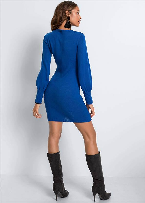 Back View Casual Sweater Dress