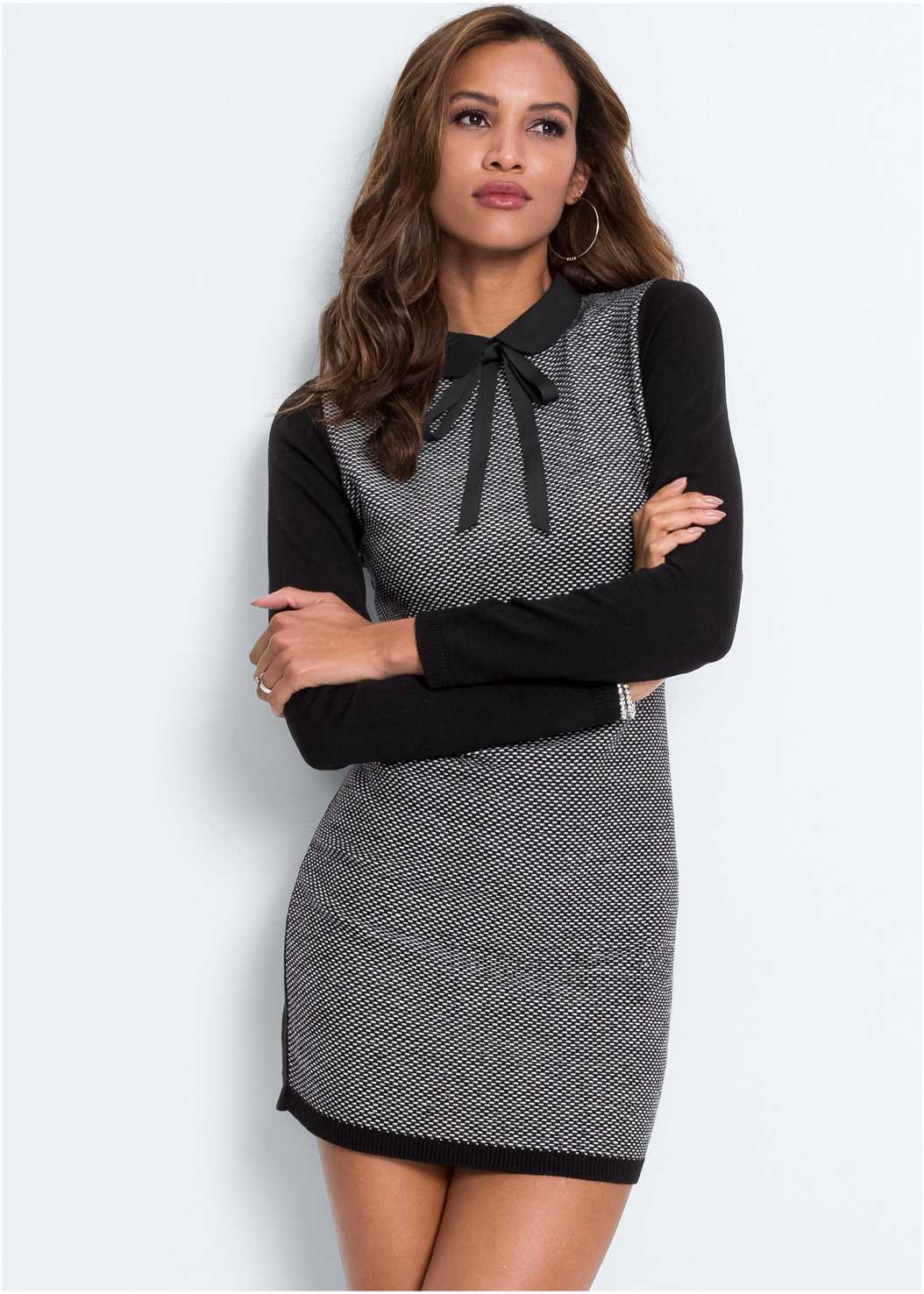 Bow Detail Sweater Dress,Memory Foam Demi Bra,Knotted Slouchy Boots