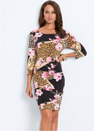 Full front view Mixed Print Bodycon Dress