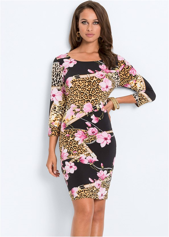 Mixed Print Bodycon Dress,Kissable Convertible Bra,High Heel Strappy Sandals