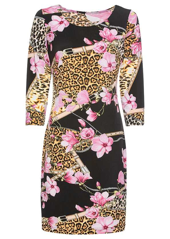 Mixed Print Bodycon Dress,High Heel Strappy Sandals