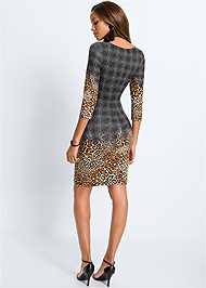 Back View Mixed Print Bodycon Dress