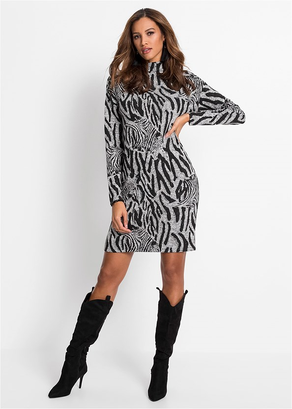Zebra Printed Sweater Dress,Seamless Unlined Bra,Heel Embellished Boot