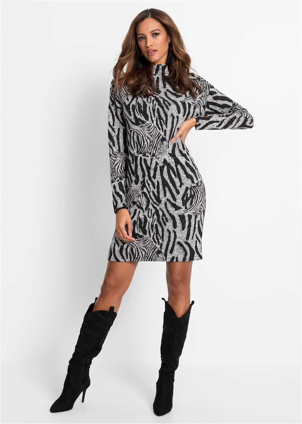 Zebra Printed Sweater Dress,Seamless Unlined Bra,Heel Embellished Boot