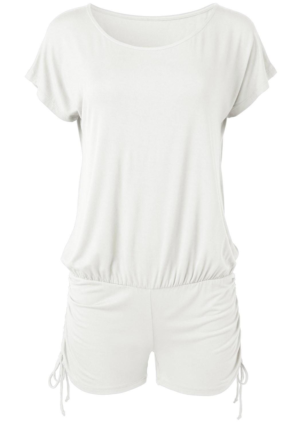 Adjustable Romper Cover-Up,Slimming One-Piece,Elastic Back Visor,Circular Straw Bag