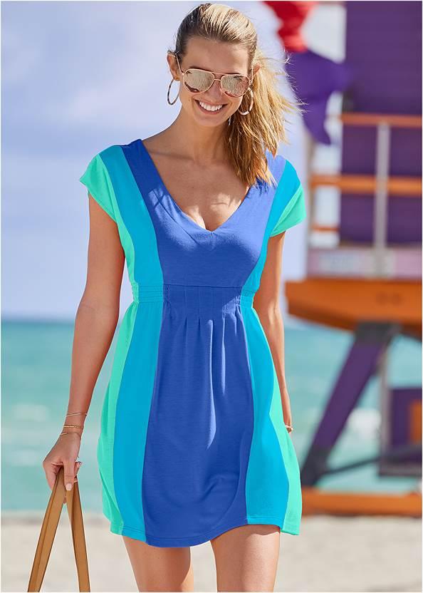 Color Block V-Neck Cover-Up,Scoop Front Classic Bikini Bottom