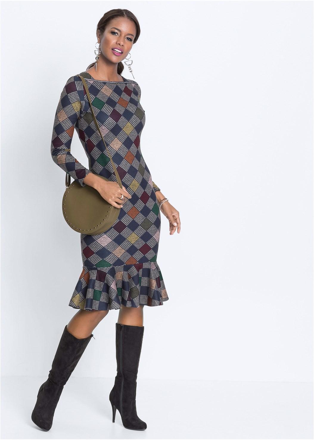 Diamond Print Midi Dress,Over The Knee Stretch Boots