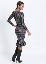 Full back view Diamond Print Midi Dress
