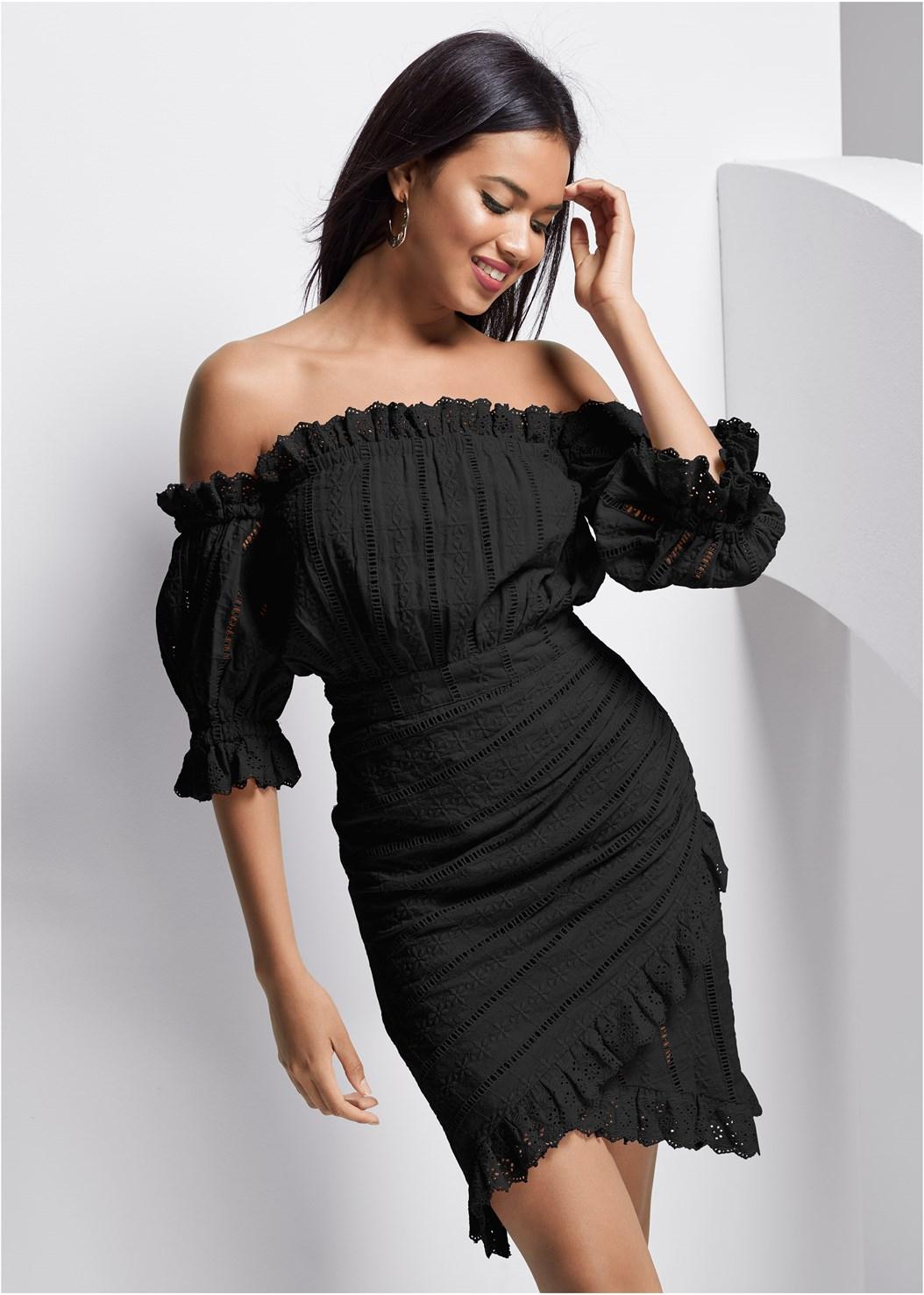 Off Shoulder Eyelet Dress,Embellished Wedges,Embellished Lucite Heel,Oversized Tassel Earrings,Wooden Handbag