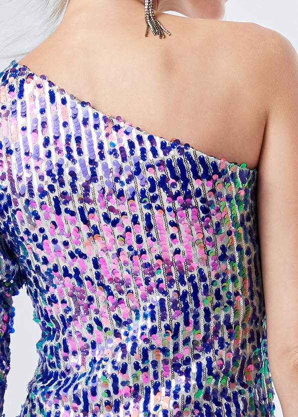 Alternate View One Shoulder Sequin Top