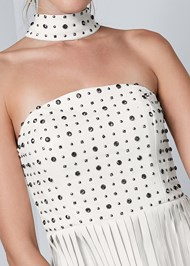 Detail front view Faux Leather Fringe Dress