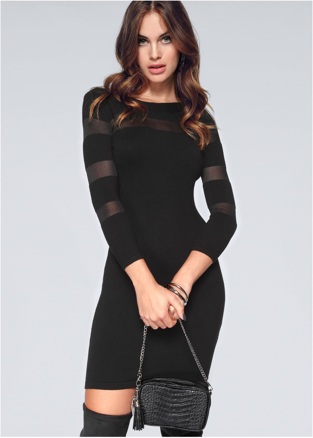Mesh Detail Sweater Dress,Kissable Strappy Push Up,Block Heel Boots,Stud Detail Crossbody
