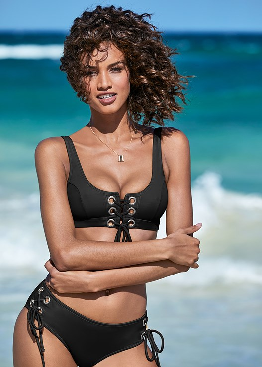 GROMMET BRALETTE TOP,GROMMET MID RISE BOTTOM,MID RISE BOTTOM,MID RISE STRAPPY BOTTOM,TIE FRONT BEACH SHIRT,TROPICAL TOTE BAG