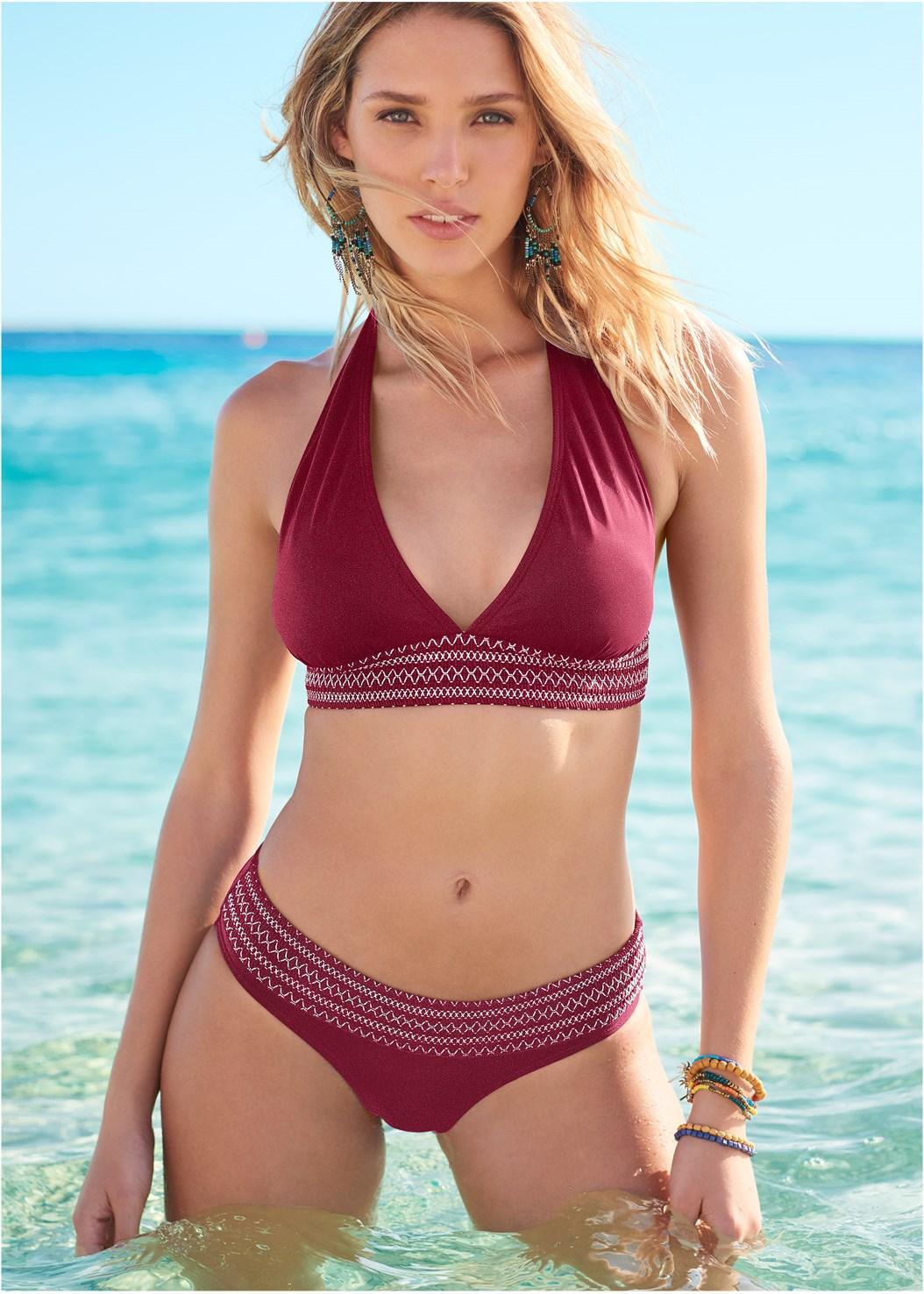 Smocked Bikini Bottom,Smocked Halter Top,Wrap Bikini Top,Smocked Enhancer Top,Cover-Up Beach Pants,Circular Straw Bag