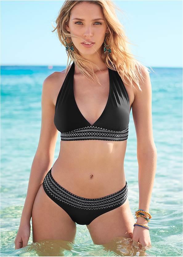 Smocked Bikini Bottom,Lovely Lift Wrap Bikini Top,Strapless Jumpsuit