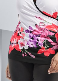 Alternate View Floral Print Mock Neck Top