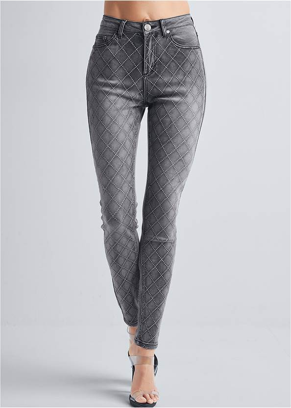 Waist down front view Embellished Skinny Jeans