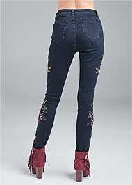 Waist down back view Floral Skinny Jeans