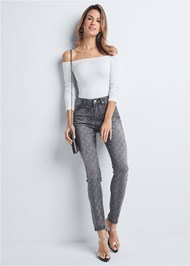 Front View Embellished Skinny Jeans
