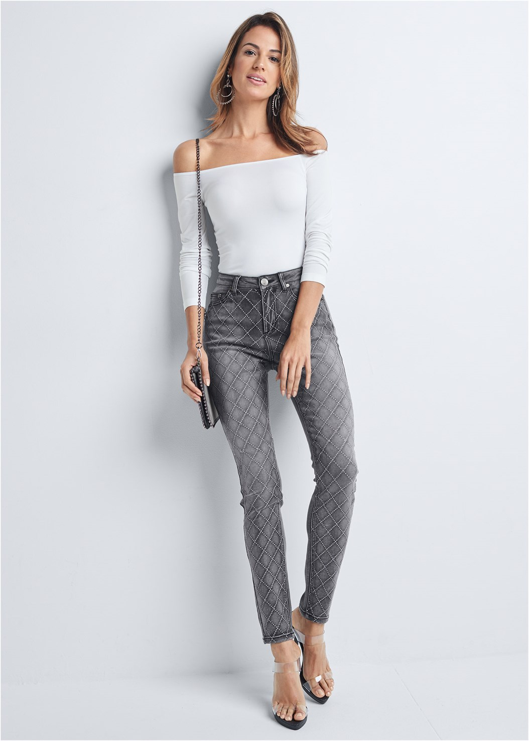 Embellished Skinny Jeans,Off The Shoulder Top,Mid Rise Color Skinny Jeans,Lucite Strap Heels,Studded Matte Hoops,Studded Chain Strap Bag