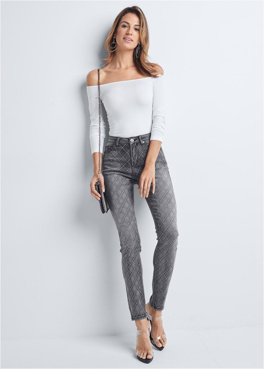 Embellished Skinny Jeans,Off The Shoulder Top,Mid Rise Color Skinny Jeans,Full Figure Strapless Bra,Lucite Strap Heels,Studded Matte Hoops,Studded Chain Strap Bag