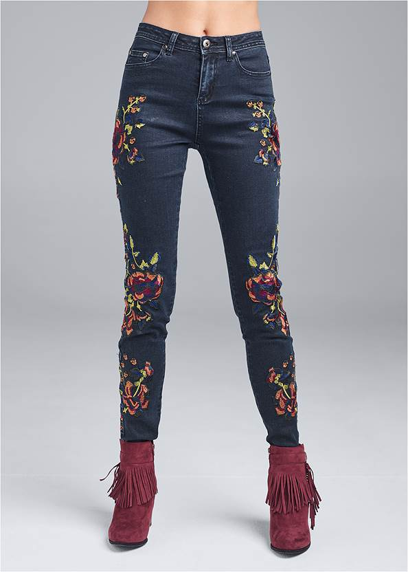 Waist down front view Floral Skinny Jeans