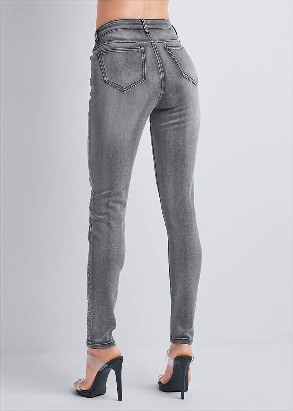 Waist down back view Embellished Skinny Jeans