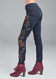 Waist down side view Floral Skinny Jeans