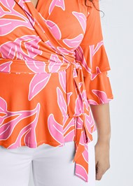 Alternate View Floral Wrap Top
