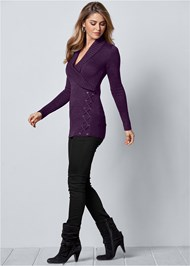 Front View Side Lace Up Sweater