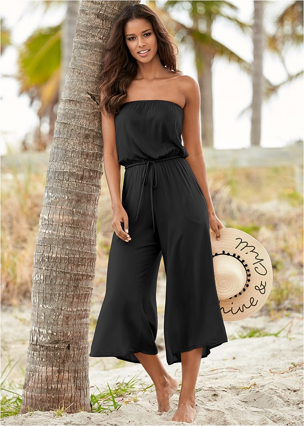 Strapless Jumpsuit,Luxe Ring Halter Top,Luxe Mid Rise Moderate Bottom,Bon Voyage Bandeau Top,Scoop Front Classic Bikini Bottom ,Slimming Draped One-Piece,Rhinestone Thong Sandal,Long Circle Earrings,Fringe Macrame Bag