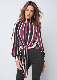 Cropped front view Striped Smocked Top
