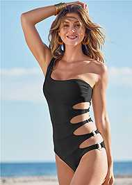 Front View One Shoulder Ring One-Piece