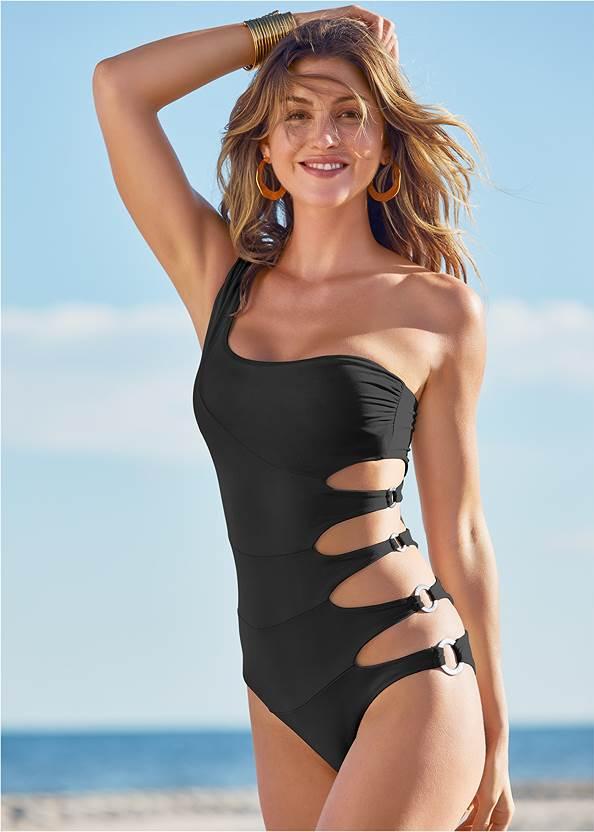 One Shoulder Ring One-Piece,Slit Leg Jumpsuit Cover-Up,Color Block V-Neck Cover-Up,Shell Detail Sandals