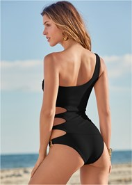 Back View One Shoulder Ring One-Piece