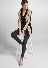 Full front view Color Block Long Blazer